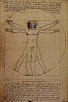 Leonardo da Vinci sketch Study of human proportion