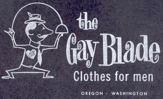 'The Gay Blade Clothes for men Oregon Washington' box artwork circa 1970s