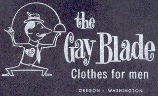 'The Gay Blade Clothes for men Oregon Washington' box artwork circa 1970s