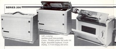 Picture from Professional Computing March/April 1985, p. 14 showing the sewing machine size HP Integral PC top opening to show the built-in inkjet printer followed by the keyboard and flat panel display folding outward.