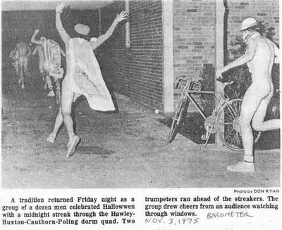 Photo of OSU students streaking on Halloween night on the front page of The Barometer Nov. 3, 1975