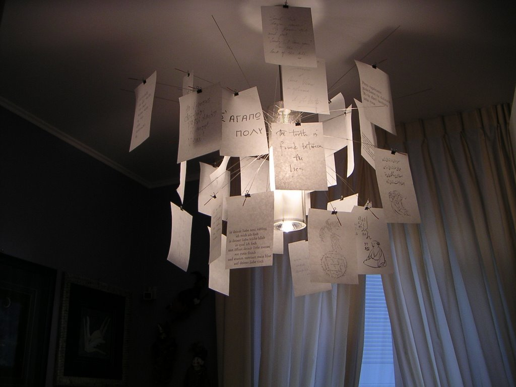 Lampadari Di Carta On Line : Lampadario con foglietti di carta happycinzia