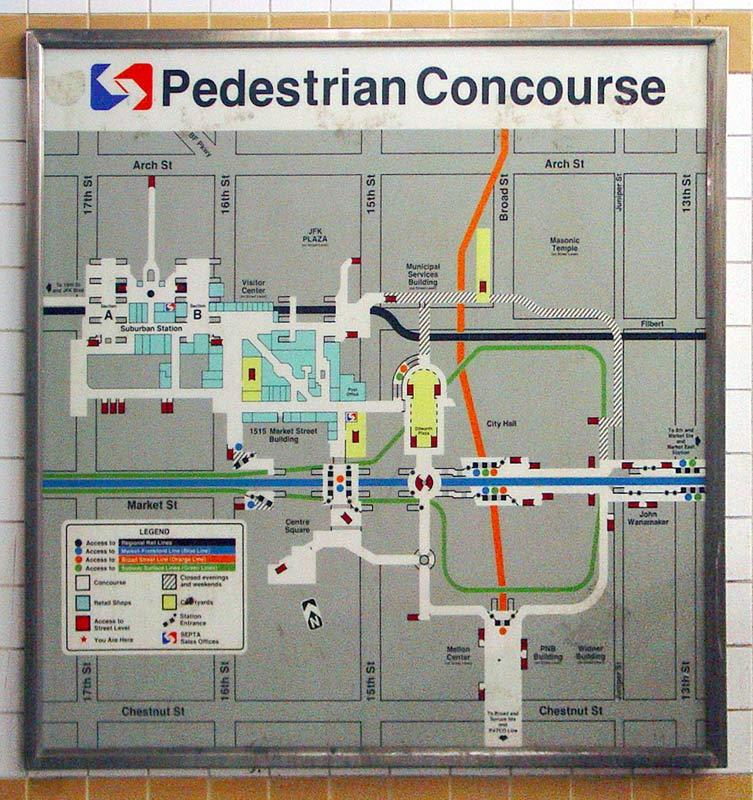 map of underground Septa concourses - philadelphia Center City Phila Map on