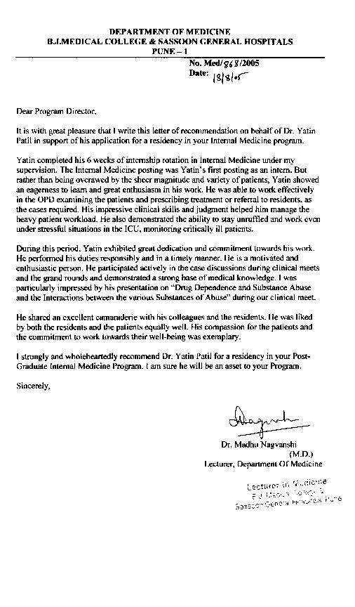 Internal medicine physician cover letter