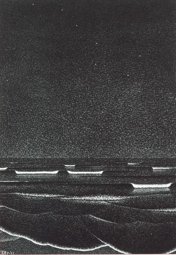 m c escher gallery m c escher 1933 phosphorescent. Black Bedroom Furniture Sets. Home Design Ideas