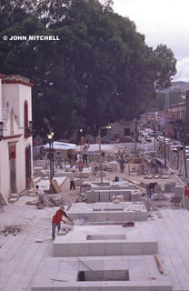 Restoration work on the Zocalo in Oaxaca, Mexico. © John Mitchell 2005