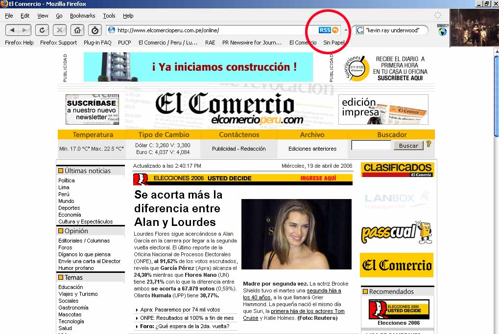 Sin Papel: RSS para Firefox y para agregadores en El Comercio