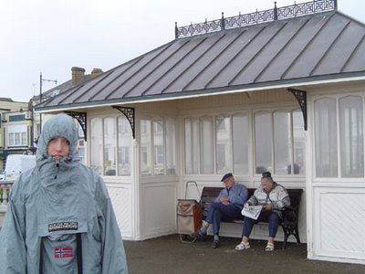 My sister Caroline at Herne Bay in the rain