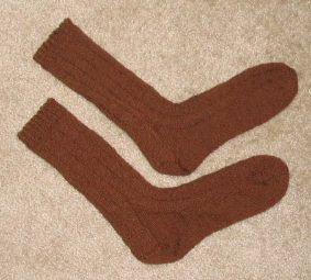 Leigh's dad's handknit birthday socks.