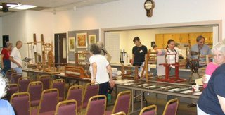 Weaving and spinning equipment and books were also up for auction.