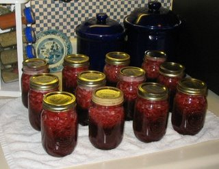Jars of freshly canned jam.