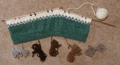 The beginning of Leigh's Rare Breed Sweater.