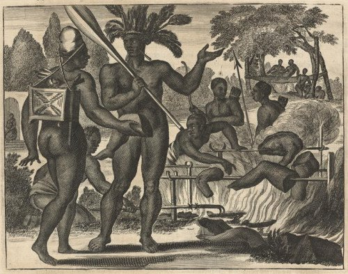 Brazilian Indians roasting human body parts in 1600s (Tupinamba?)