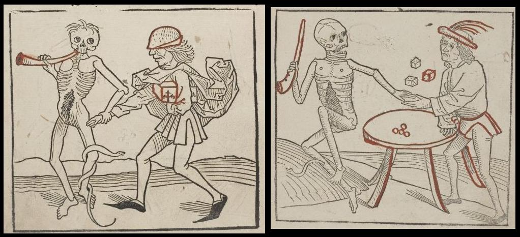book illustration death's dance skeleton