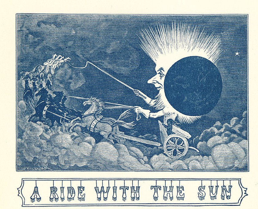 2-tone print : sun in a chariot with moon