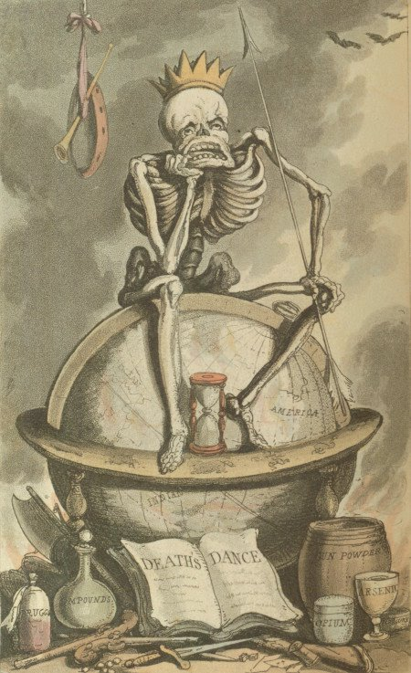 coloured engraving of seated skeleton from Rowlandson's 1815 English Dance of Death