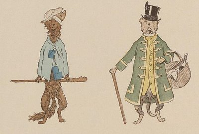 2 dressed dogs