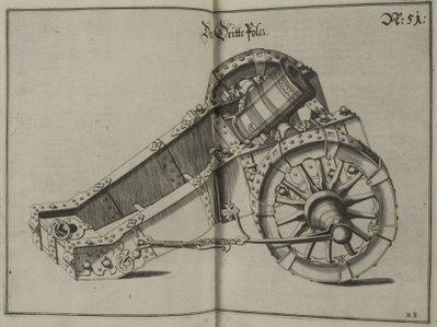 miniature baroque canon in wheeled mounting