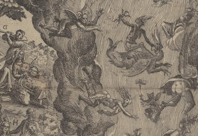 witches and demons flying - detail