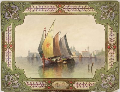 Venice: framed composition includes a Venetian curtain with a seascape