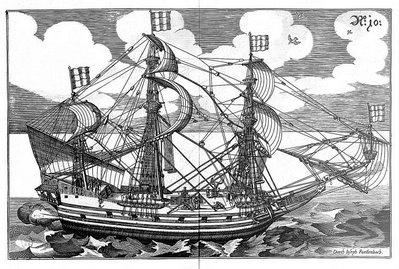 vue complète d'un navire à trois mâts