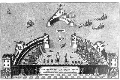 vue d'un port fortifié et d'une canonade