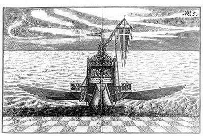 vue de la proue d'un navire à deux mâts