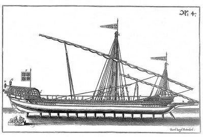 vue de profil d'un navire à deux mâts
