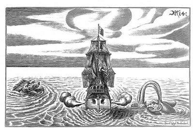 vue de la proue d'un navire à trois mâts