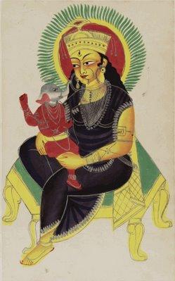 Pavarti (2-armed) nursing Ganesha