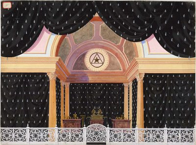 Sanctum Sanctorium in mourning. Black draperies with silver teardrops. White fence separates the stage space from the ark of the covenant, seven candles, and twelve vessels Freemasonry Scottish Rite