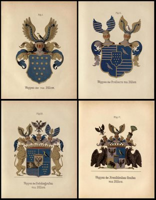 four 19th century german family crests