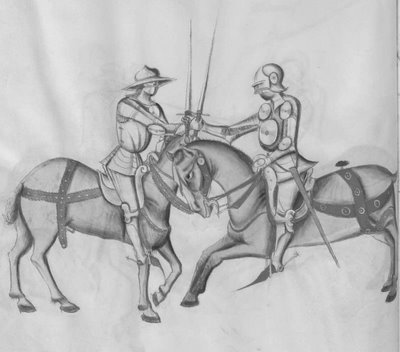 sword fighters on horseback salute to each other