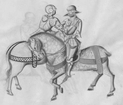 unarmed combat on horseback in armour
