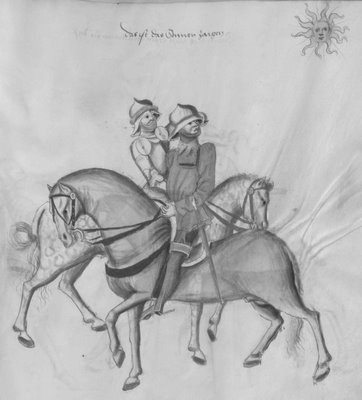 2 combattants on horseback look at the sun