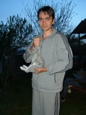 Pet Pictures: Rabbit Picture - a picture of my brother holding a Rabbit
