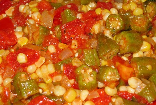 okra sautéed with onions tomatoes and corn and hot peppers