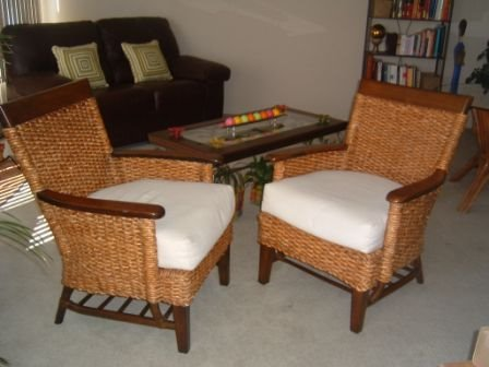 Furniture Sale Contemporary Leather Loveseat Amp Two Pier One Rattan Chairs
