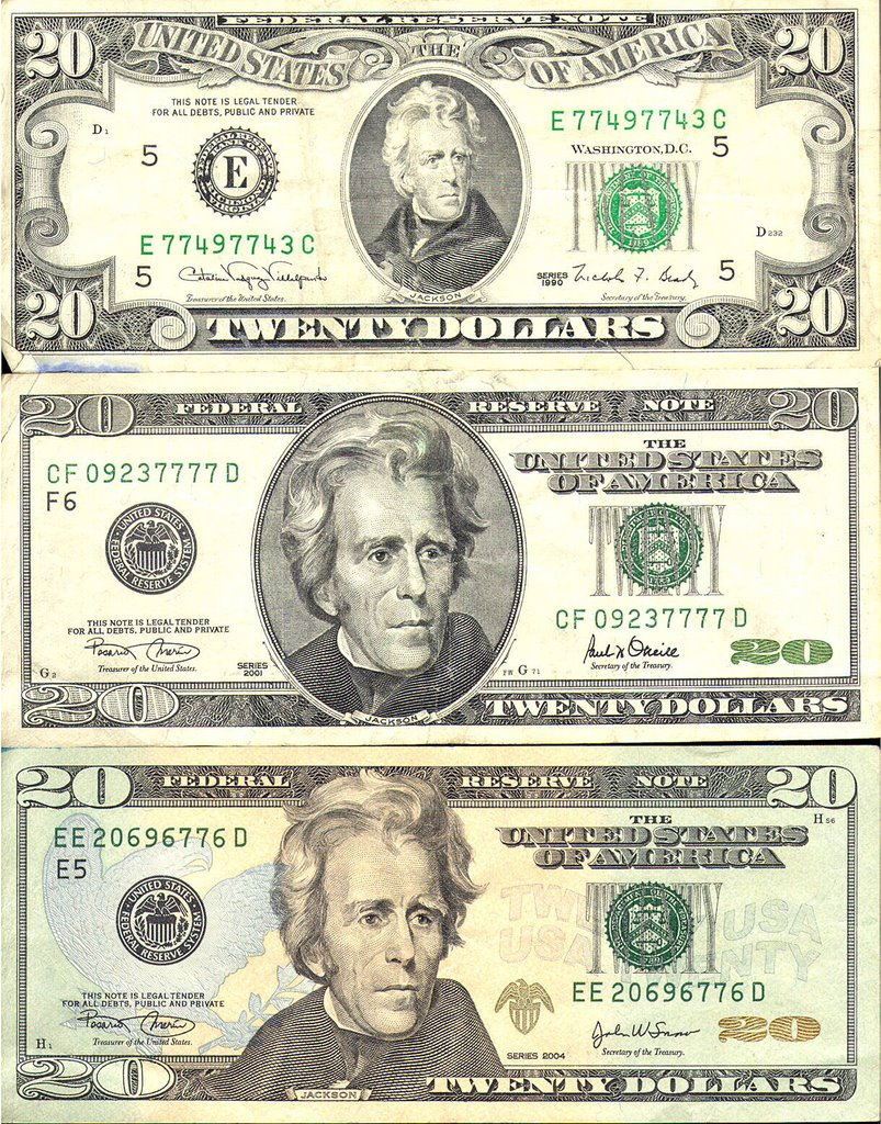 A Photo History Of The Evolution Of The 20 Dollar Bill