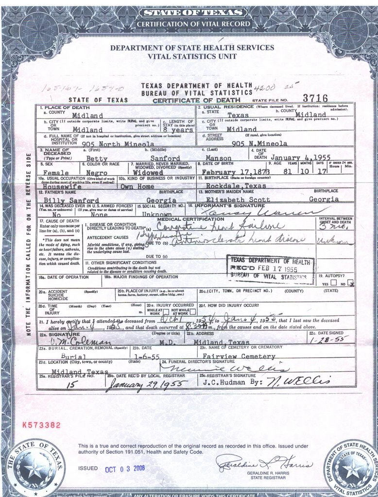 Geneablogie october 2006 death certificate betty sanford manson aiddatafo Image collections