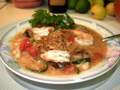 Garlicky White Bean & Shrimp Soup
