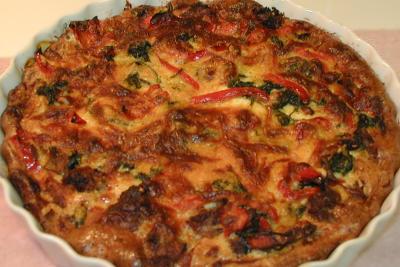 Italian Sausage, Spinach & Red Pepper Quiche