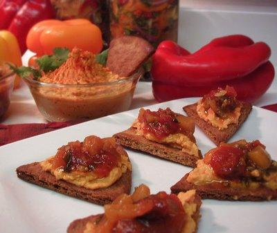 Pita Crisps with Hummus and Salsa