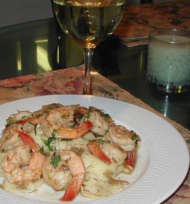 Fettuccine and shrimp in garlic butter sauce