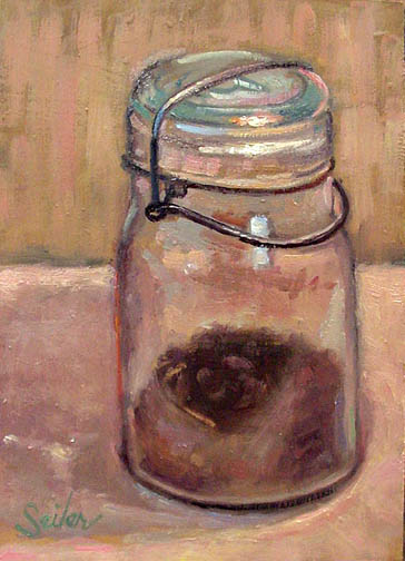 Painting from life glass jar coffee grounds for Painting with coffee grounds