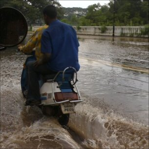Scooter in rainwater