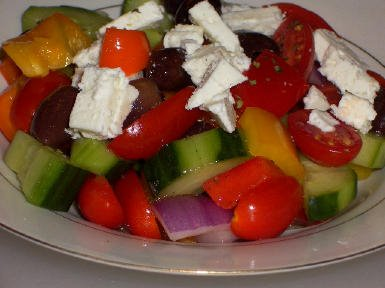 ... Chopped Greek-Style Salad with Red, Yellow, and Orange Bell Pepper