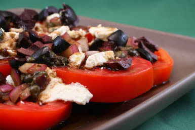 Sliced Tomato, Olive and Goat Cheese Salad Recipe with Onion-Caper ...