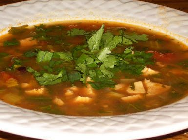 Original photo Chicken, Black Bean, and Cilantro Soup found on KalynsKitchen.com.