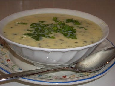 Greek Egg-Lemon Chicken Soup (Avgolemono Soup)  found on KalynsKitchen.com